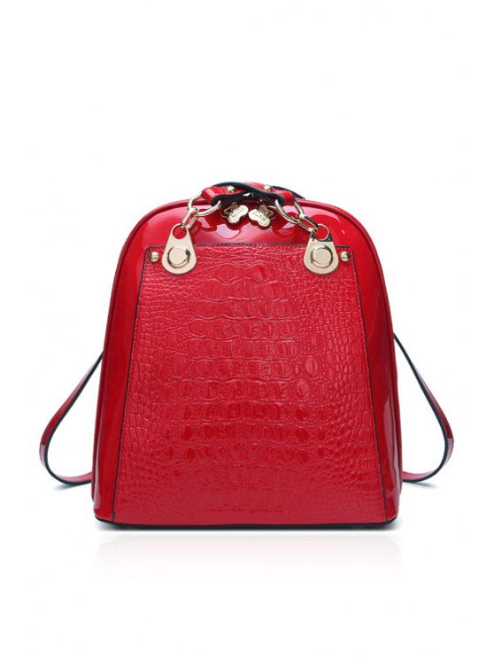 lady Crocodile Print Patent Leather Satchel - RED