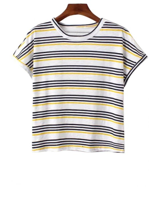 unique Stripes Short Sleeves T-Shirt - YELLOW ONE SIZE(FIT SIZE XS TO M)