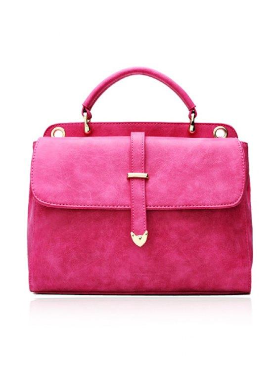 affordable Suede Metal Belt Tote Bag - ROSE