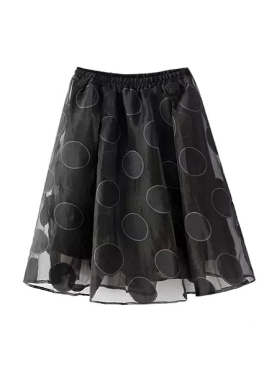 women Voile Spliced Polka Dot A Line Skirt - BLACK ONE SIZE(FIT SIZE XS TO M)