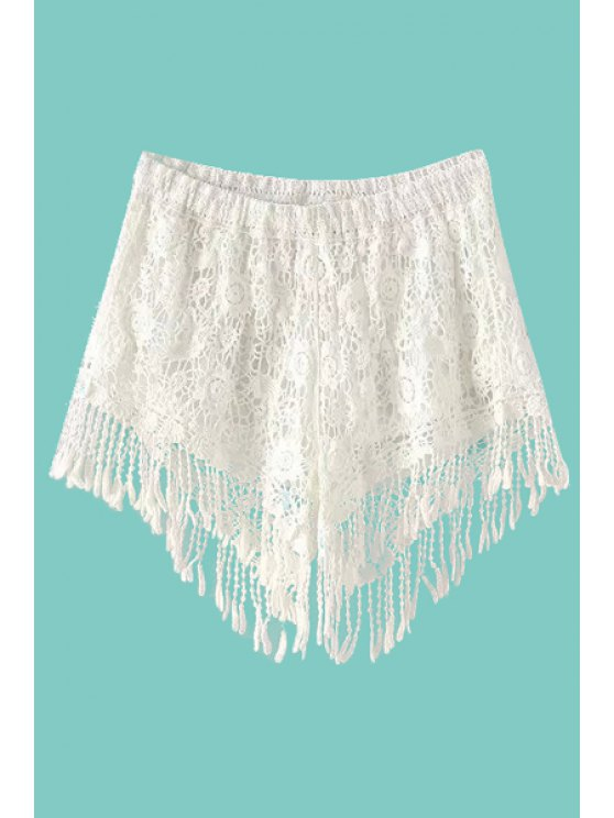shop White Lace Elastic Waist Shorts - WHITE ONE SIZE(FIT SIZE XS TO M)
