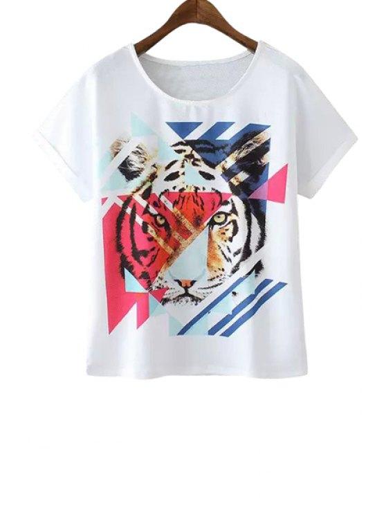 womens Tiger Print Scoop Collar T-Shirt - WHITE S
