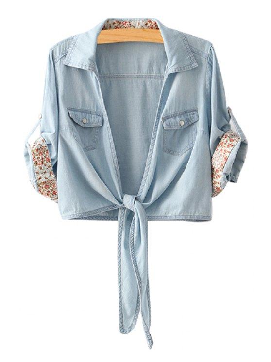 fancy Bleach Wash Tie Knot Half Sleeve Shirt - LIGHT BLUE M