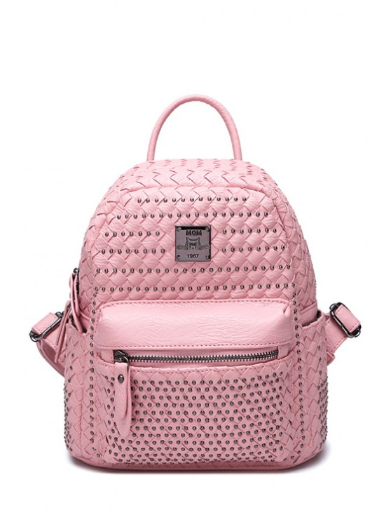 new Weaving Rivets PU Leather Satchel - PINK