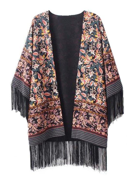 buy Floral Print Fringe Splicing 3/4 Sleeve Kimono - COLORMIX M