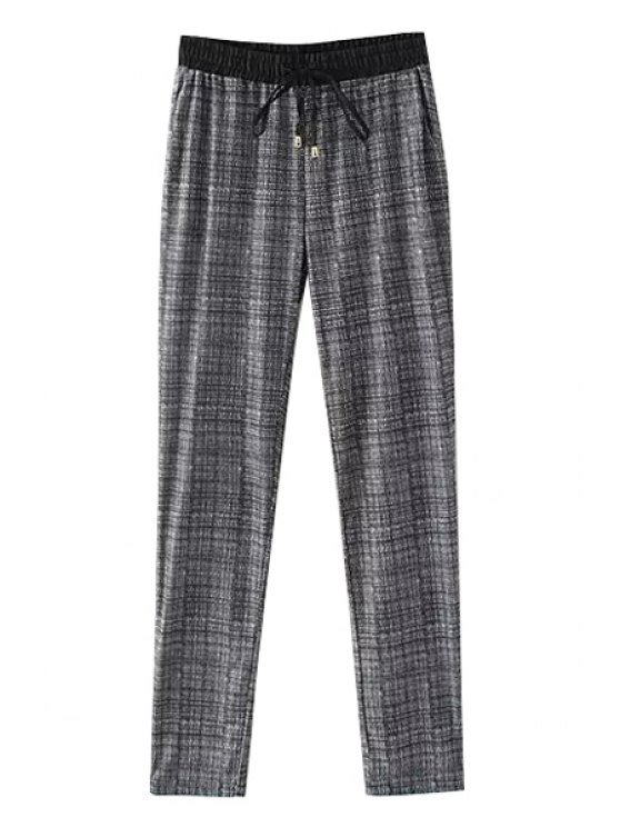 outfits Checked Drawstring Straight Leg Pants - AS THE PICTURE S