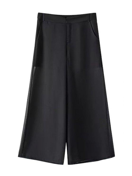 fancy Black Wide Leg Pants - BLACK S
