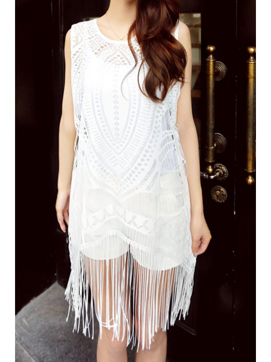 sale Scoop Collar Crochet Flower Openwork Cover-Up - WHITE ONE SIZE(FIT SIZE XS TO M)