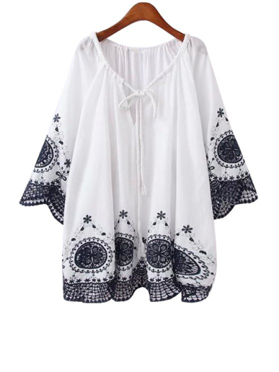 hot V-Neck Embroidery 3/4 Sleeve Blouse - WHITE ONE SIZE(FIT SIZE XS TO M)