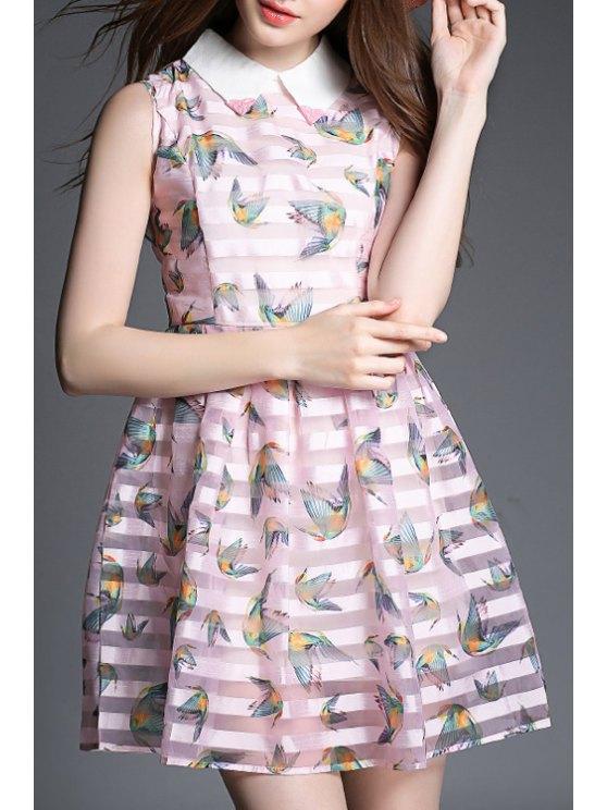 latest Bird Print Stripe Sleeveless Dress - COLORMIX S
