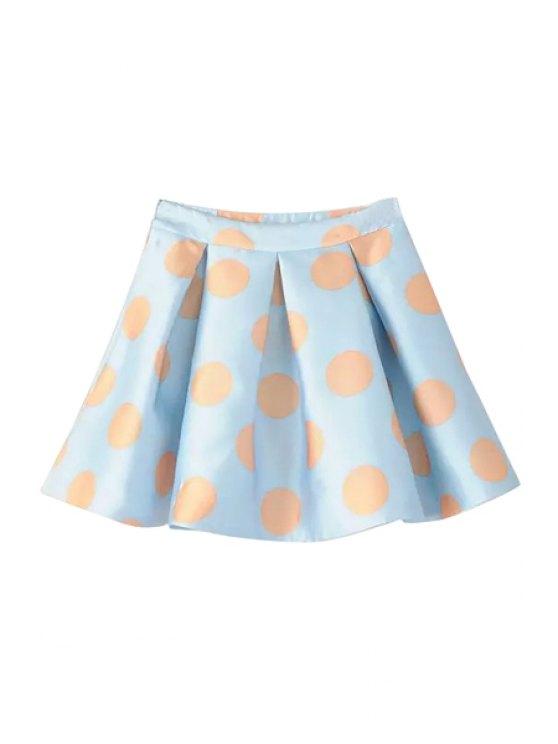 lady A Line Polka Dot Print Skirt - LIGHT BLUE S