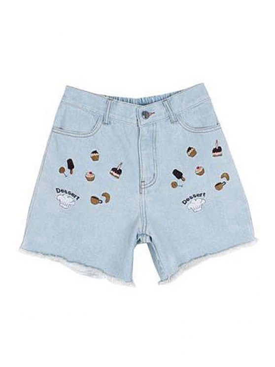 chic Bleach Wash Cake Embroidery Denim Shorts - LIGHT BLUE S