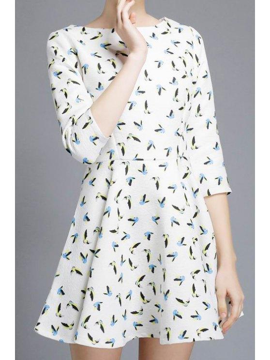 buy Full Birds Print 3/4 Sleeve Dress - WHITE S