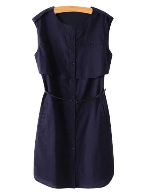 shops Solid Color Linen Sleeveless Dress - DEEP BLUE M