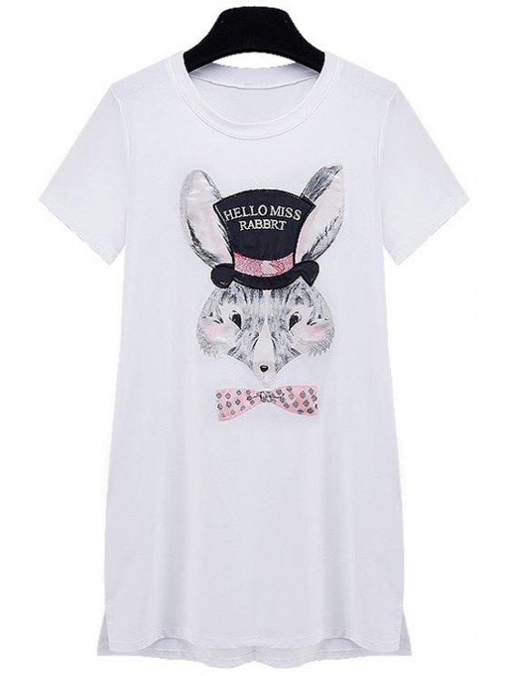 women's Rabbit Print Short Sleeve Dress - WHITE S