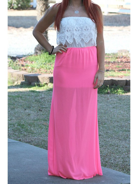 outfits Strapless Color Block Lace Spliced Chiffon Maxi Dress - RED WITH WHITE S