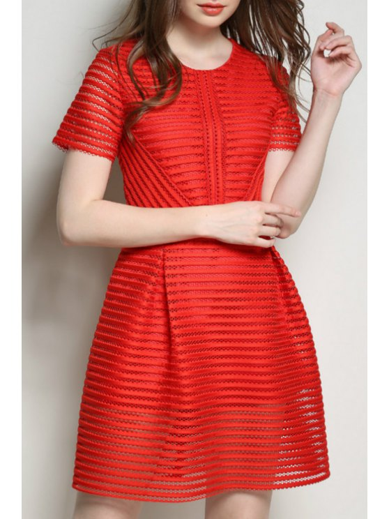 online Solid Color Stripe Openwork Short Sleeve Dress - RED S
