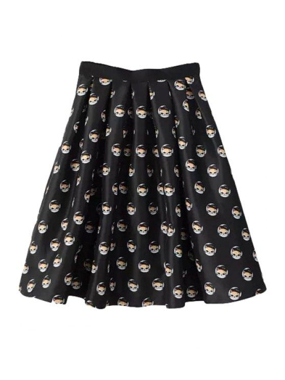 outfit Full Kitten Print A Line Midi Skirt - BLACK S