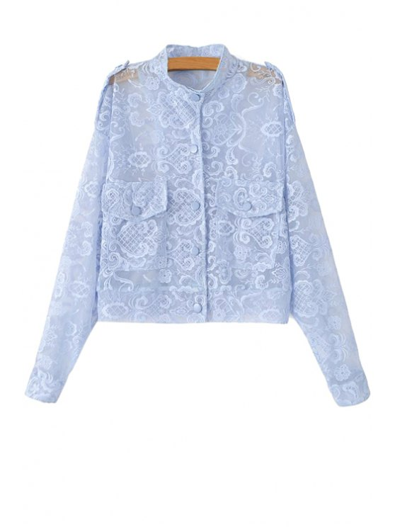 ladies Lace Stand Neck See-Through Jacket - LIGHT BLUE S