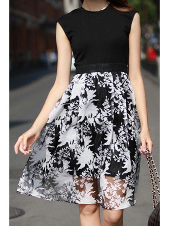 ladies Floral Print Splicing Sleeveless Dress - BLACK S