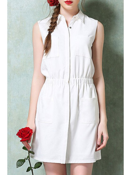latest Turn-Down Collar Solid Color Pocket Dress - WHITE XS