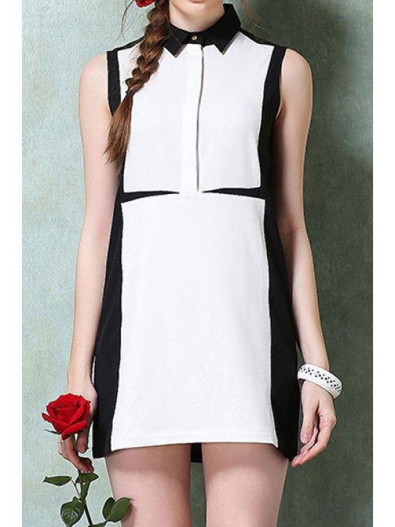 fashion Turn-Down Collar White Black Splicing Dress - AS THE PICTURE L