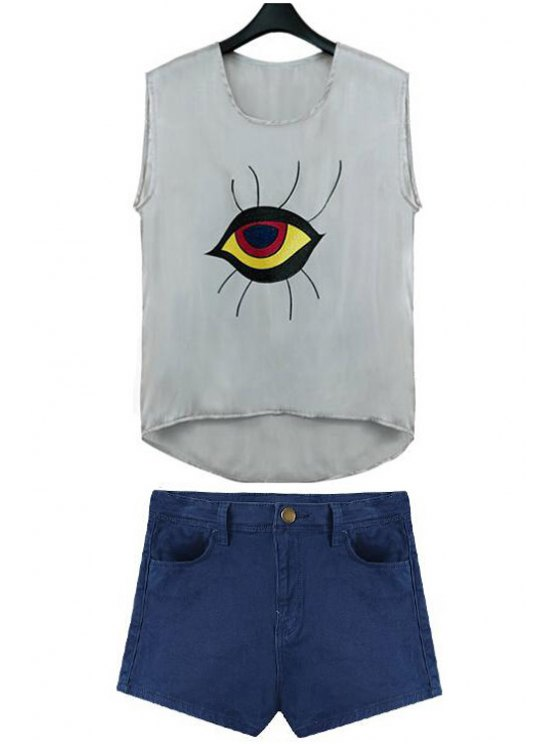 outfits Eye Pattern Sleeveless Tank Top - GRAY S