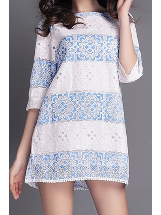 fashion Blue Floral Lace Edging Half Sleeve Dress - WHITE S