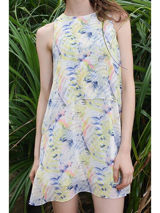 lady Sleeveless Floral Print Chiffon Dress - COLORMIX S