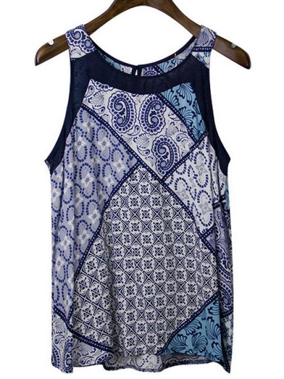 lady Round Neck Sleeveless Printed Chiffon Tank Top - BLUE S
