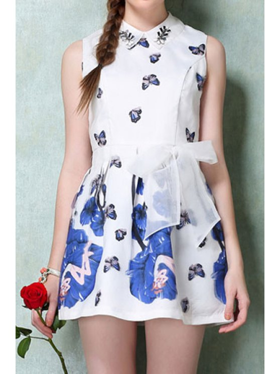hot Turn-Down Collar Butterfly Print Voile Tie-Up Dress - AS THE PICTURE S