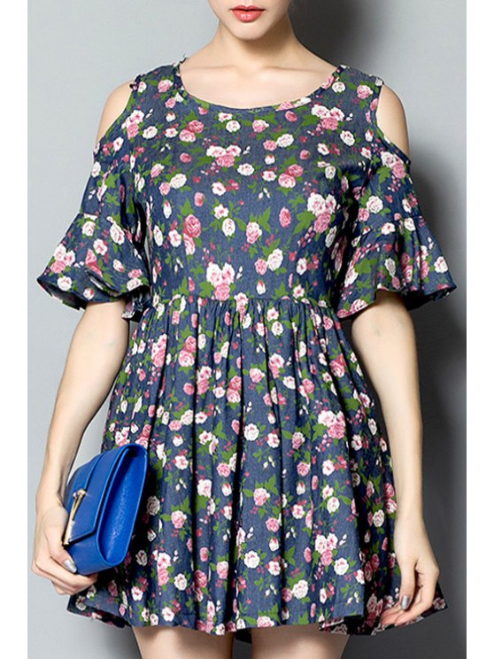 affordable Tiny Floral Print Ruffle Short Sleeve Dress - COLORMIX S