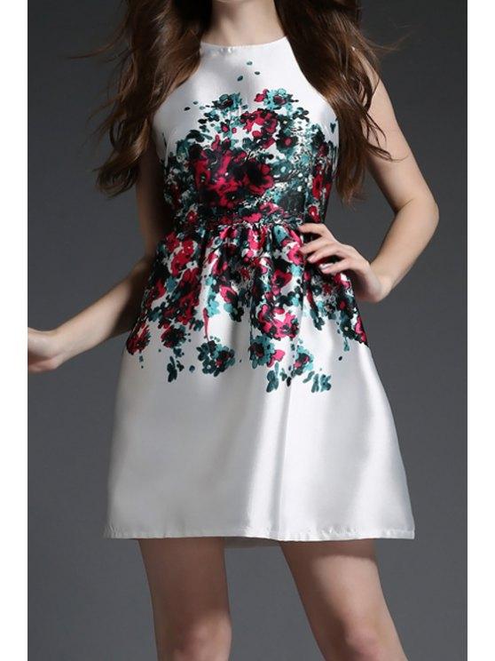 best Jewel Neck Floral Print Ruffle Sleeveless Dress - WHITE S