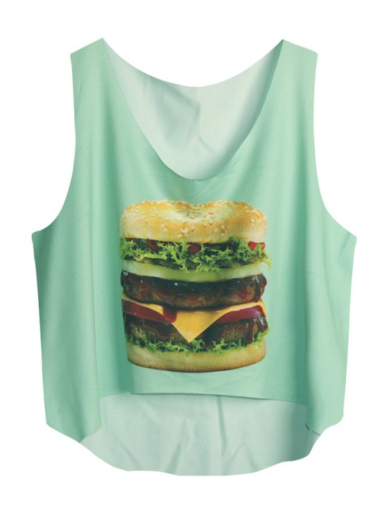 hot Scoop Neck Hamburger Print Sleeveless Tank Top - GREEN ONE SIZE(FIT SIZE XS TO M)