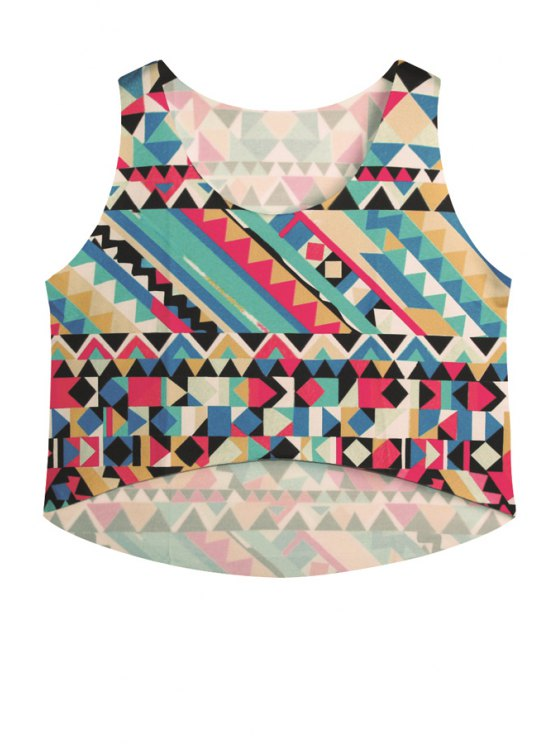 shops Colorful Geometric Print Sleeveless Tank Top - COLORMIX ONE SIZE(FIT SIZE XS TO M)