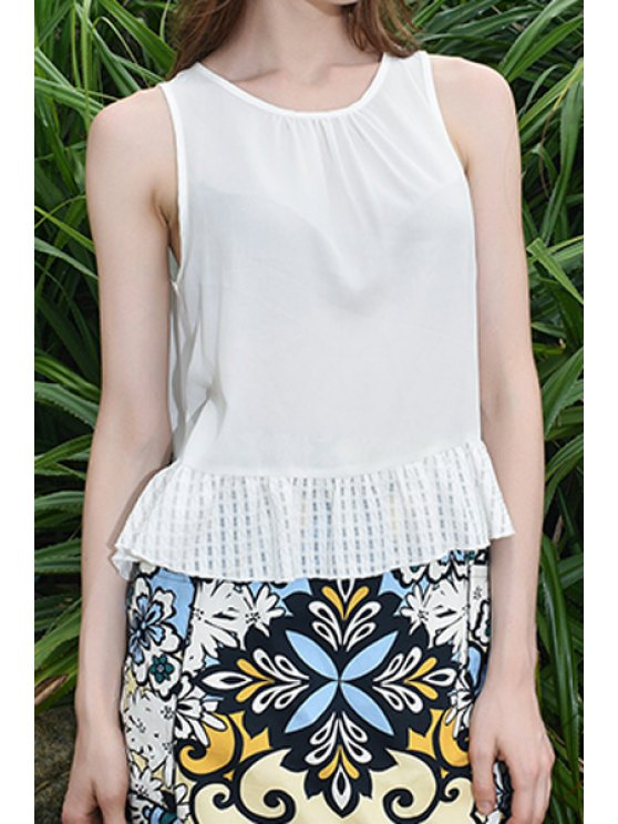 chic Round Neck Sleeveless Ruffles Spliced Lace-Up Tank Top - WHITE S
