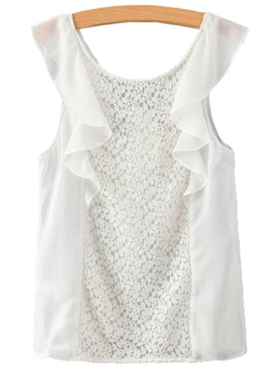 sale Solid Color Lace Flounce Splicing Tank Top - WHITE S