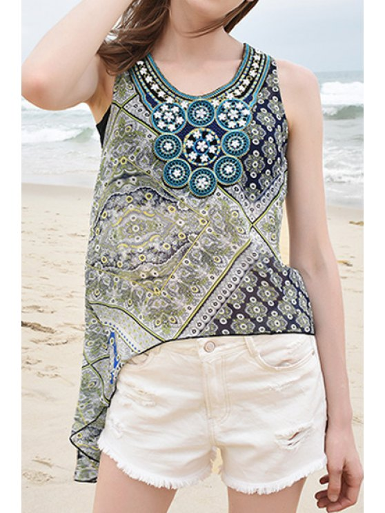 sale Scoop Collar Printed Asymmetrical Chiffon Tank Top - BLUE AND GREEN S