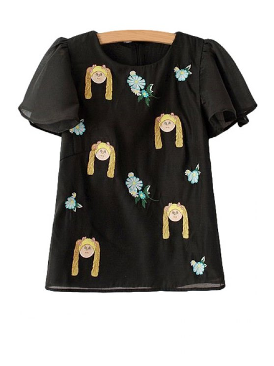 online Girl Floral Embroidery Short Sleeve T-Shirt - BLACK S