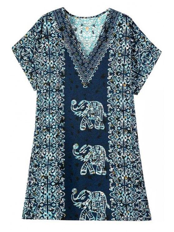 womens Short Sleeve Elephant Print Dress - COLORMIX S