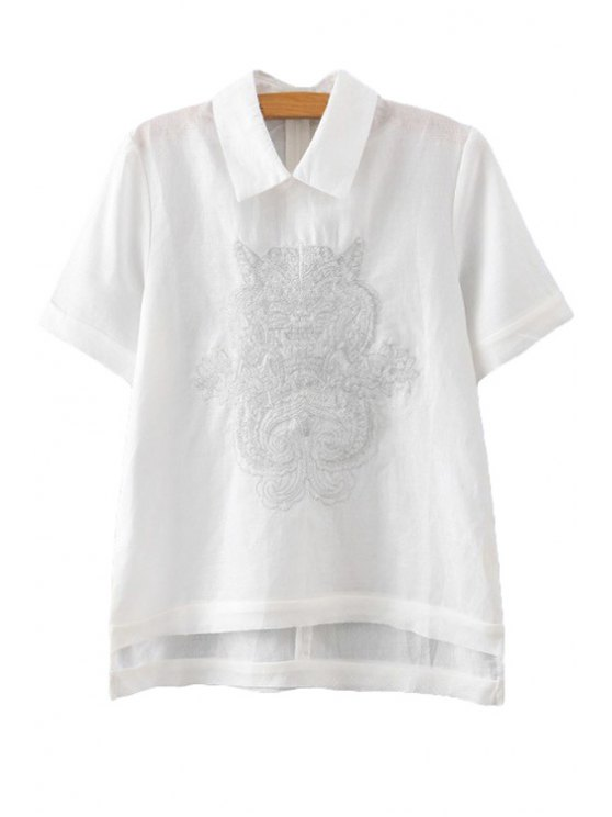 fashion Turn-Down Collar Embroidery High Low T-Shirt - WHITE S