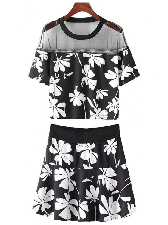fancy Voile Splicing Floral Print T-Shirt + Skirt - BLACK ONE SIZE(FIT SIZE XS TO M)