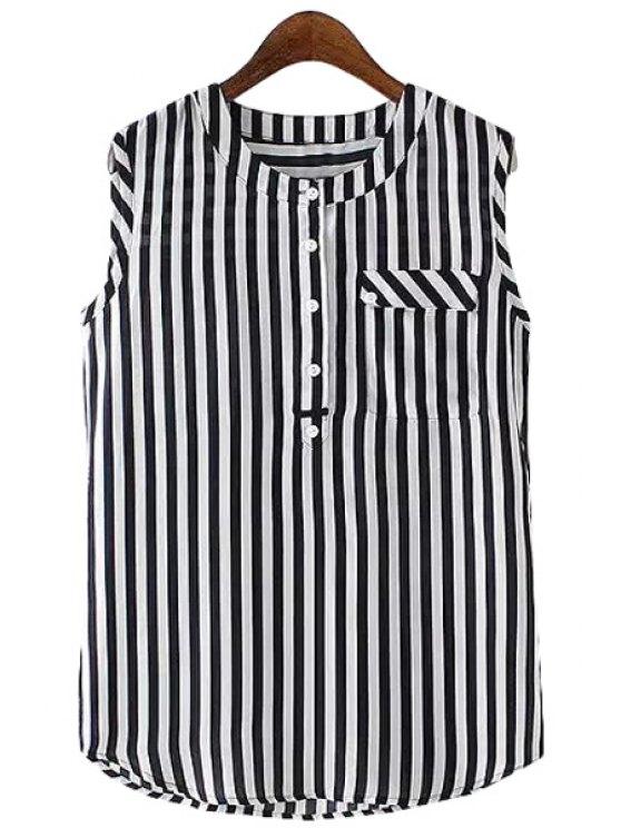 latest Striped Chiffon Sleeveless Shirt - STRIPE S