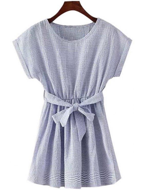 chic Stripe Ruffle Belt Short Sleeve Dress - LIGHT BLUE M