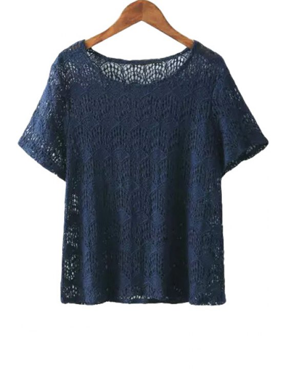 shops Short Sleeve Lace Solid Color T-Shirt - CADETBLUE S