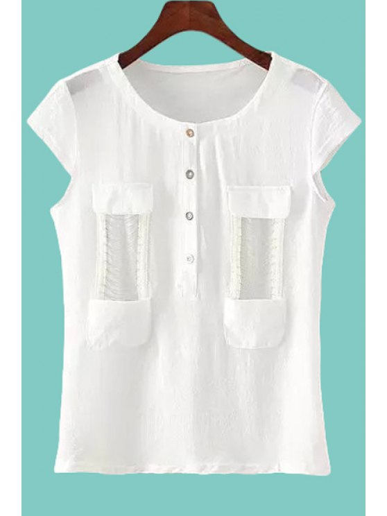 hot Solid Color Chain Embellished Short Sleeve T-Shirt - WHITE M