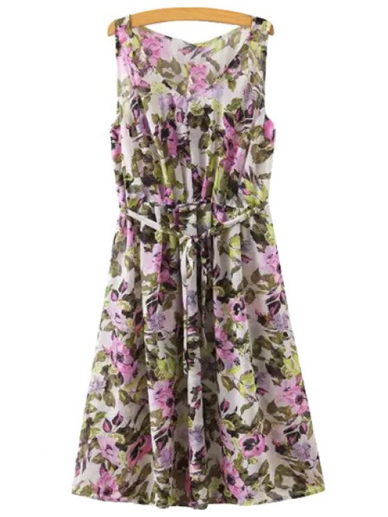 outfit Floral Print V Neck Sleeveless Dress - PURPLE S