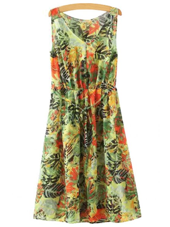 trendy Leaf Print V Neck Sleeveless Dress - GREEN S