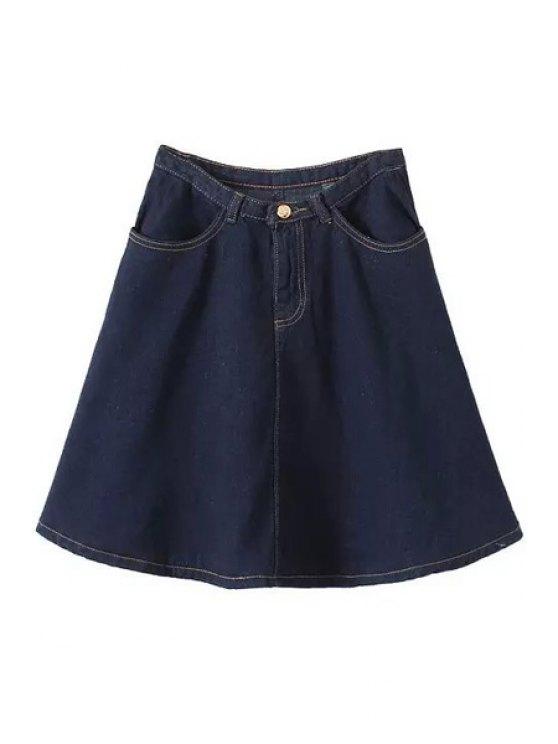 unique Solid Color High Waist Zipper Fly Denim Skirt - BLUE S
