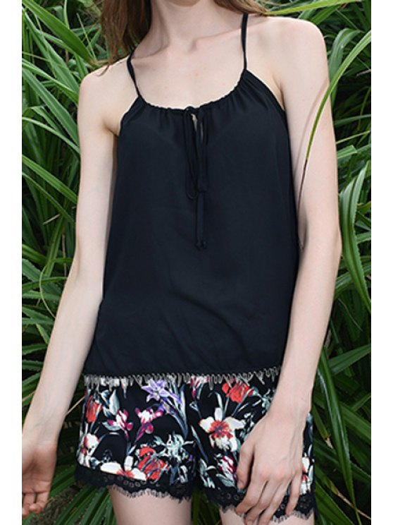 sale Floral Print Lace Spliced Chiffon Shorts - BLACK ONE SIZE(FIT SIZE XS TO M)